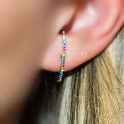 Ear Hook Slim Cravejado Rainbow