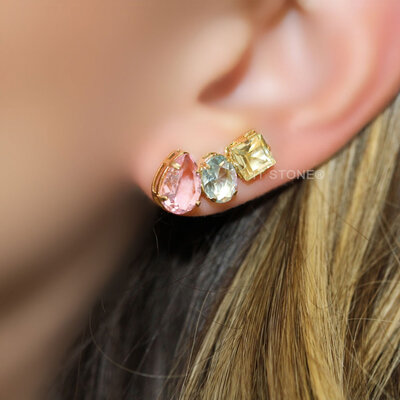 Ear Cuff 3 Stones Colors