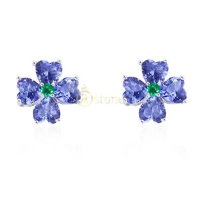 Brinco Flower Charlize Tanzanita e Esmeralda