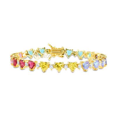 Pulseira Riviera Corações Luxo Rainbow Gold