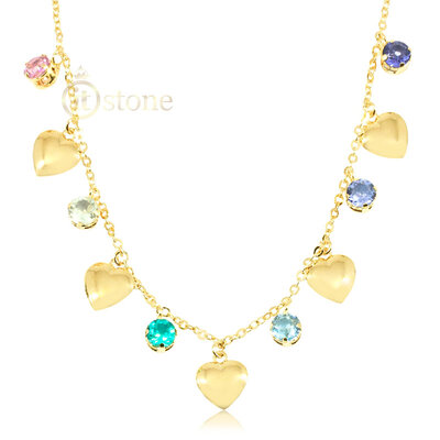 Choker Heart and Crystals Gold