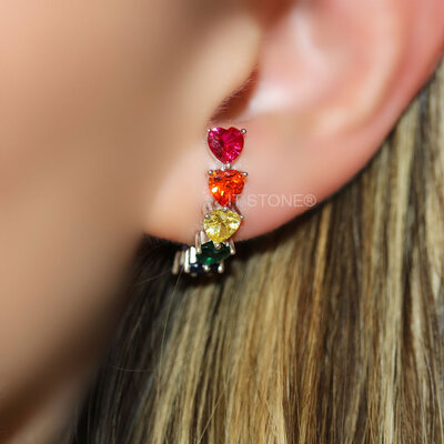 Ear Hook Hearts Rainbow