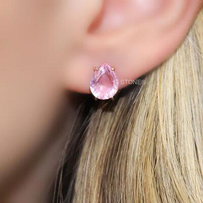 Brinco Gota Dream Cristal Rosa Gold