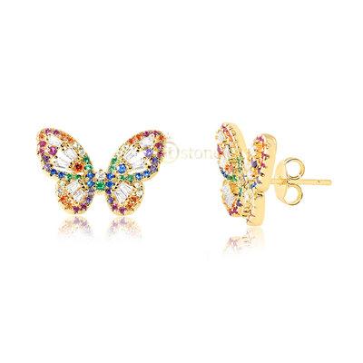 Brinco Butterfly Luxo Rainbow Gold