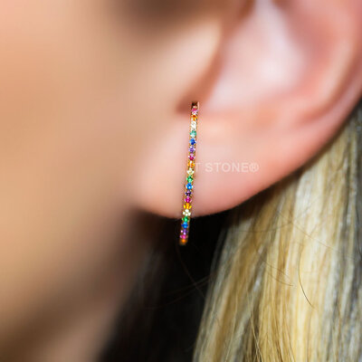 Ear Hook Slim Cravejado Rainbow Gold