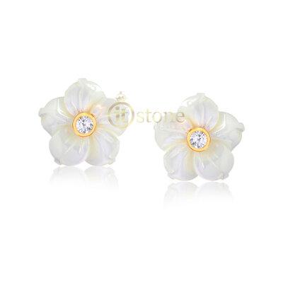 Brinco Flower Madre Pérola Zircônias Gold