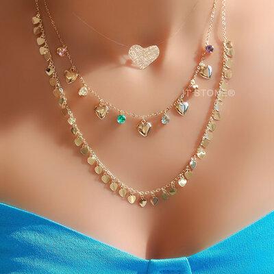 Choker Heart and Crystals Gold