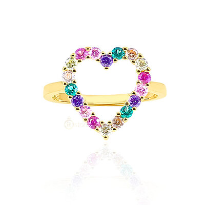 Anel Heart Rainbow Candy Gold