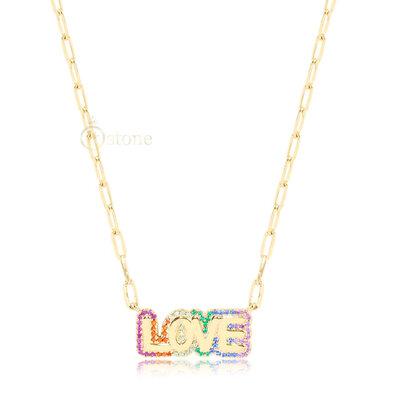 Colar Elos Love Rainbow Gold