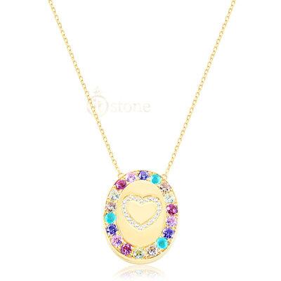 Colar Relicário Colors Luxo Heart Gold 68cm