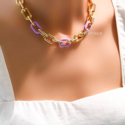 Colar Elos Neon Lilac
