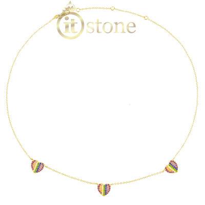 Gargantilha Corações Cravejados Luxo Rainbow Gold