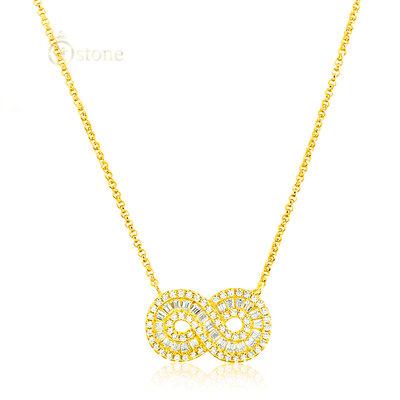 Colar Infinito Baguetes Luxo Gold