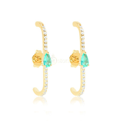Ear Hook Gota Esmeralda Colombiana Fusion Gold