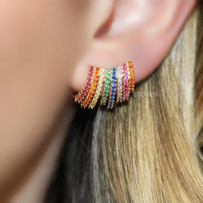 Ear Cuff Whitny Rainbow Luxo Gold