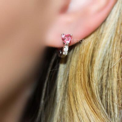 Argolinha Mini Heart Turmalina Pink