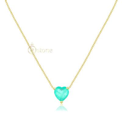 Colar Heart Ponto de Luz Esmeralda Colombiana Fusion Gold