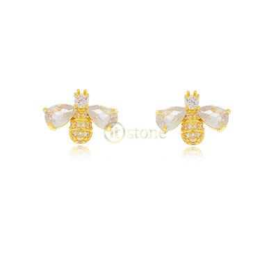 Brinco Bee Crystal Gold