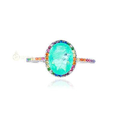 Anel Oval Esmeralda Colombiana Fusion Cravação Rainbow
