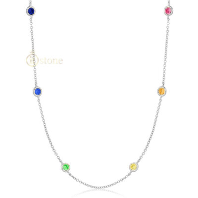 Colar Tiffy Ponto de Luz Luxo Rainbow 80cm