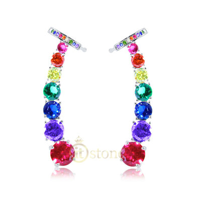 Ear Cuff Crystals Rainbow Luxo