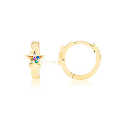 Argolinha Estrela Rainbow Gold