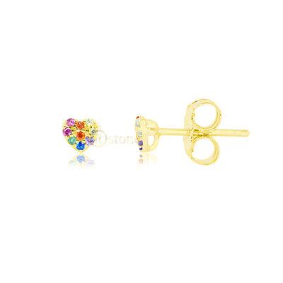 Brinco Mini Heart Segundo ou Terceiro Furo Rainbow Gold