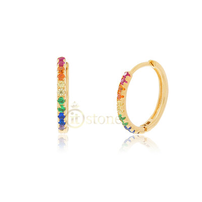 Argolinha Slim Rainbow 10mm Gold