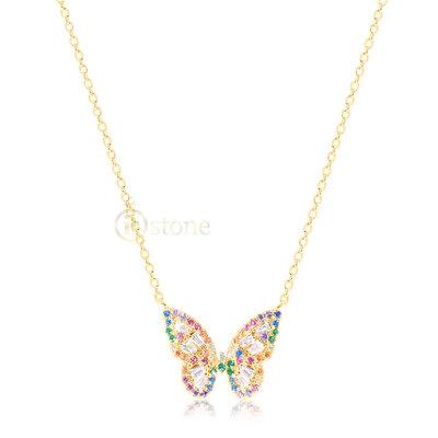 Colar Butterfly Luxo Rainbow Gold