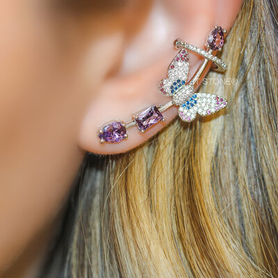 Ear Cuff Butterfly Ametista