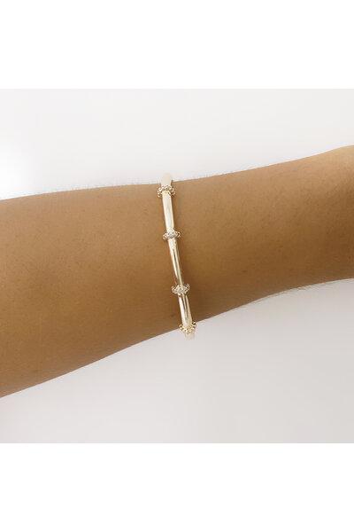 Bracelete dourado fileiras cravejadas em zircônias