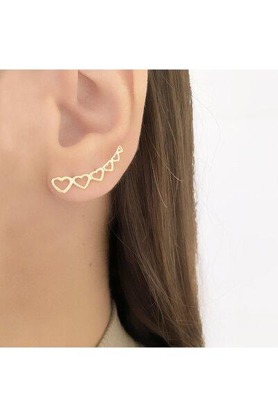 Brinco dourado ear cuff corações