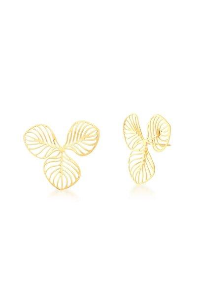 Brinco dourado 3 folhas