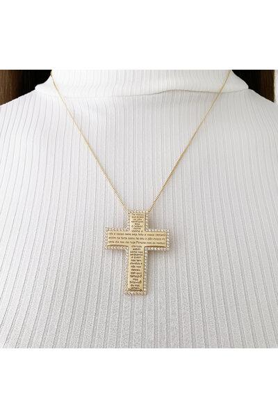 Colar dourado Crucifixo com Oração do Pai Nosso