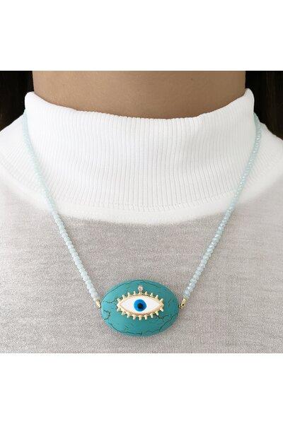 Colar cristais com pingente oval turquesa com olho grego