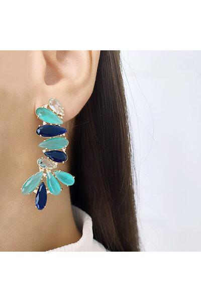 Brinco dourado Cascata com cristais Turmalina, Azul Marinho e Água marinha