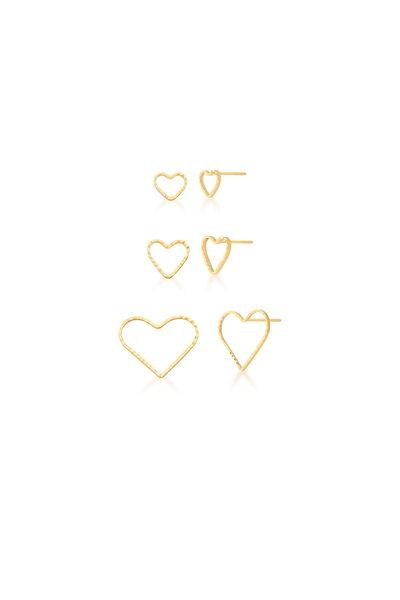 Trio de Brincos de Coração dourados vazados