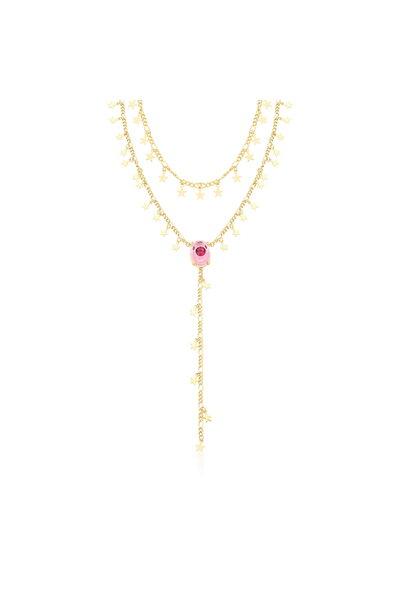Gargantilha dourada dupla com Estrelas e Olho Grego em cristal rosa