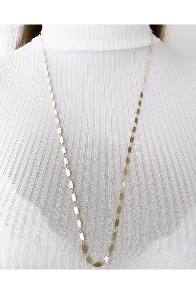 Colar dourado longo com medalhinhas ovais