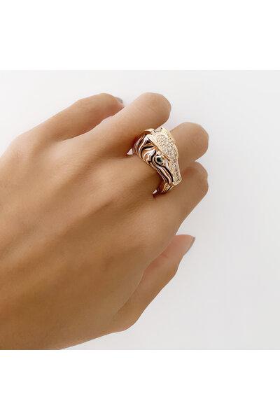 Anel dourado de Zebra Esmaltado Preto e Branco