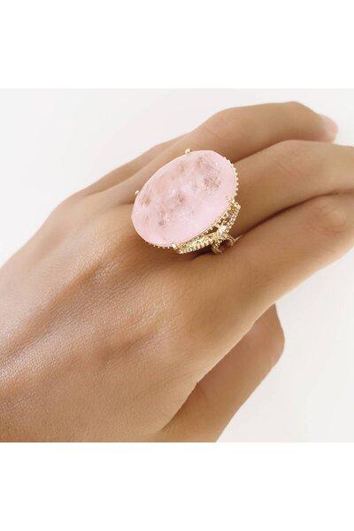 Anel dourado oval com Cristal Rosa Fusion e zircônias