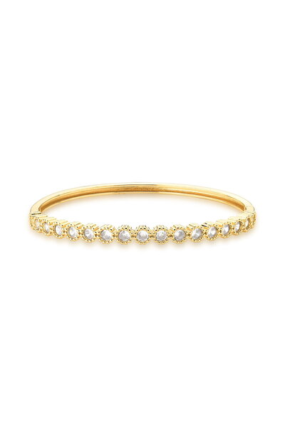 Bracelete dourado com cristais