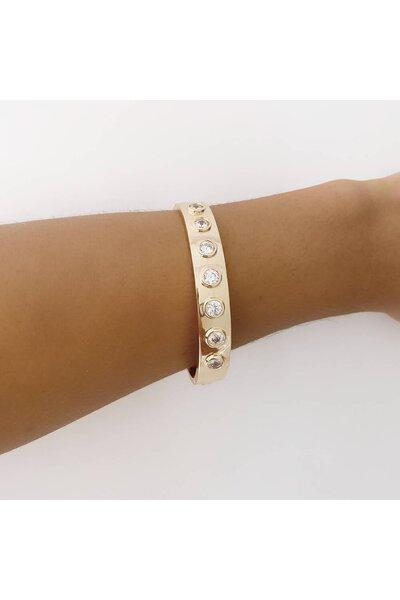 Bracelete dourado liso com Cristais aplicados