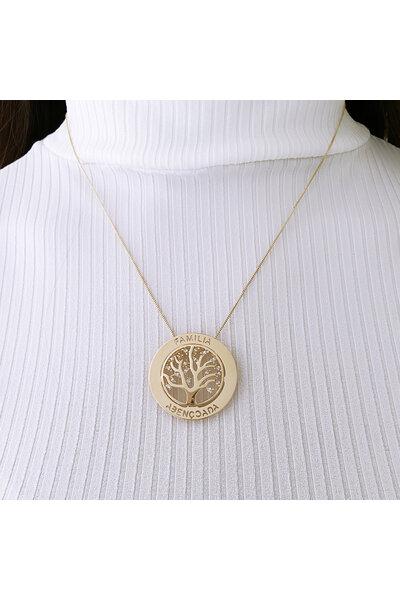 Gargantilha dourada Mandala Árvore da Vida Família Abençoada
