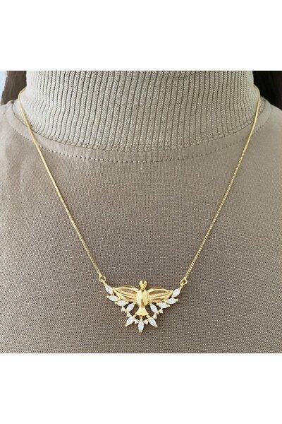 Gargantilha dourada divino espírito santo com cristal