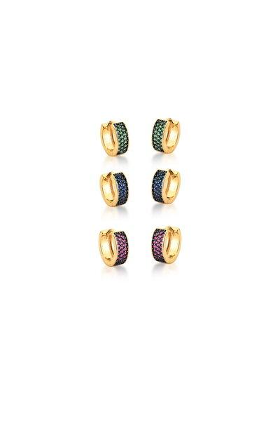 Trio de Argolas douradas com zircônias Azuis, Rubis e Verdes