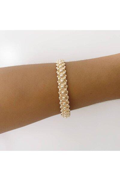 Bracelete Dourado todo em bolinhas lisas Inspired