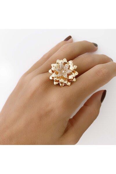 Anel Dourado Flor cravejada e lisa