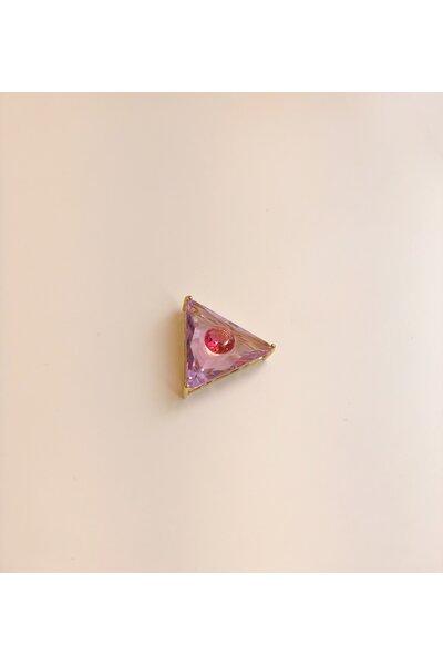 Pingente dourado triangular olho grego cristal rosa e rosa pink