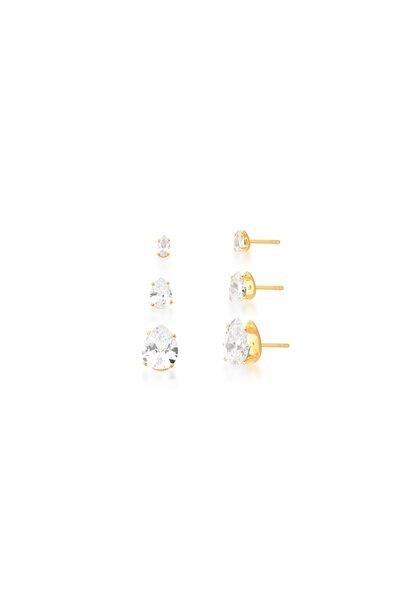 Trio de Brincos Gotas em cristais com dourado